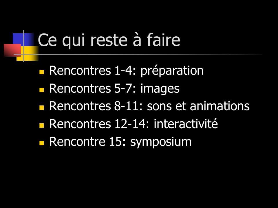 Ce qui reste à faire Rencontres 1-4: préparation Rencontres 5-7: images Rencontres 8-11: sons et animations Rencontres 12-14: interactivité Rencontre