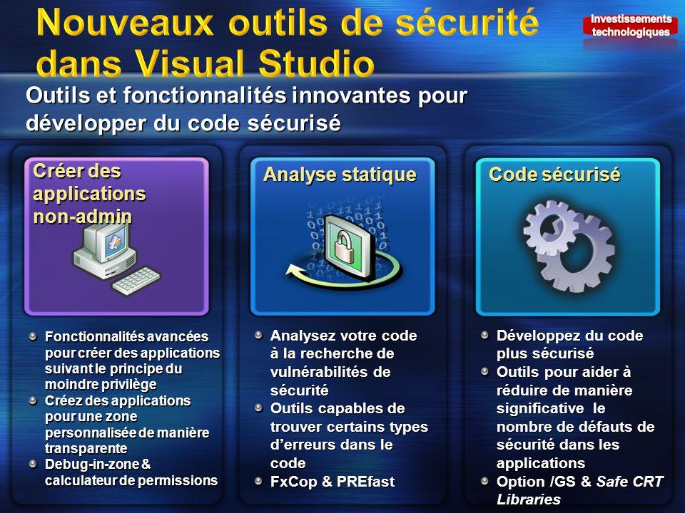 Outils et fonctionnalités innovantes pour développer du code sécurisé Créer des applications non-admin Analyse statique Code sécurisé Fonctionnalités