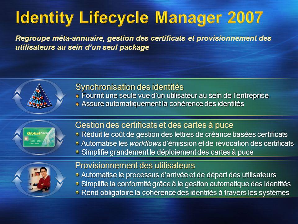 Synchronisation des identités Fournit une seule vue dun utilisateur au sein de lentreprise Assure automatiquement la cohérence des identités Regroupe méta-annuaire, gestion des certificats et provisionnement des utilisateurs au sein dun seul package Provisionnement des utilisateurs Automatise le processus darrivée et de départ des utilisateurs Simplifie la conformité grâce à le gestion automatique des identités Rend obligatoire la cohérence des identités à travers les systèmes Gestion des certificats et des cartes à puce Réduit le coût de gestion des lettres de créance basées certificats Automatise les workflows démission et de révocation des certificats Simplifie grandement le déploiement des cartes à puce