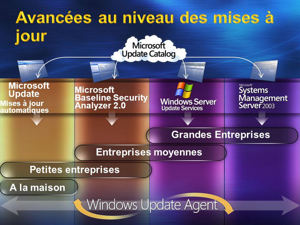 Microsoft Baseline Security Analyzer 2.0 Microsoft Update Mises à jour automatiques A la maison Petites entreprises Entreprises moyennes Grandes Entreprises