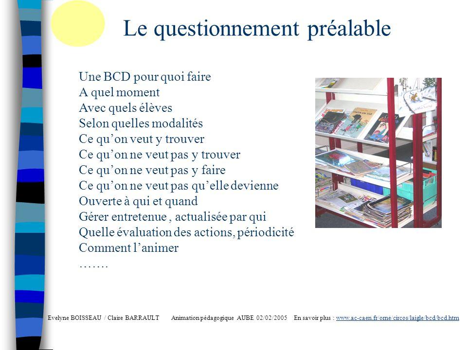 Lorganisation matérielle Evelyne BOISSEAU / Claire BARRAULT Animation pédagogique AUBE 02/02/2005 En savoir plus : www.ac-caen.fr/orne/circos/laigle/bcd/bcd.htmwww.ac-caen.fr/orne/circos/laigle/bcd/bcd.htm Le fonds douvrages - Tri du stock existant ; quels critères - Acquisitions ( Les partenaires, les projets, les IO) - Renouvellement ( Actualité de la Littérature Jeunesse) Les sites de littérature jeunesse Les salons : Alice, Argentan … Les catalogues des éditeurs Les libraires
