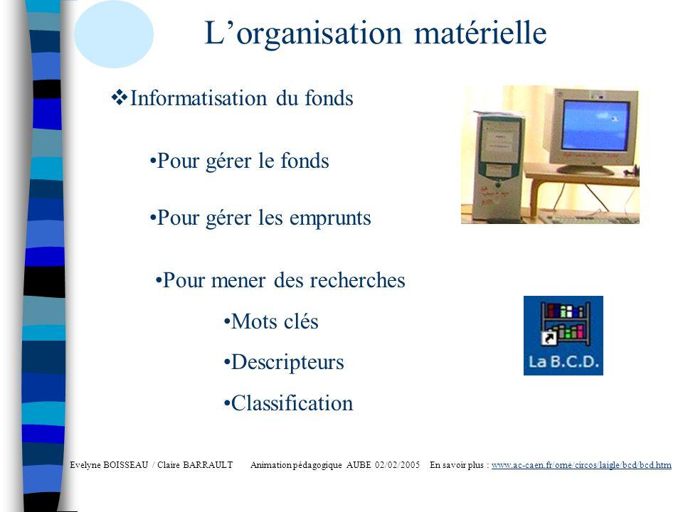 Lorganisation matérielle Evelyne BOISSEAU / Claire BARRAULT Animation pédagogique AUBE 02/02/2005 En savoir plus : www.ac-caen.fr/orne/circos/laigle/b