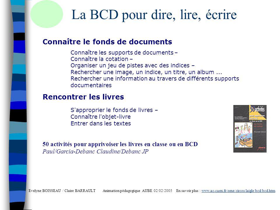 La BCD, lieu vivant Evelyne BOISSEAU / Claire BARRAULT Animation pédagogique AUBE 02/02/2005 En savoir plus : www.ac-caen.fr/orne/circos/laigle/bcd/bcd.htmwww.ac-caen.fr/orne/circos/laigle/bcd/bcd.htm Rencontrer des auteurs Rencontrer les éditeurs Rencontrer des libraires Créer un comité de lecture pour les achats Présenter des livres en classe ou aux autres classes Inviter les parents Créer des animations, jeux, parcours découvertes, rallyes Participer à des événements dactualité Semaine de la Presse Printemps des Poètes Etc.