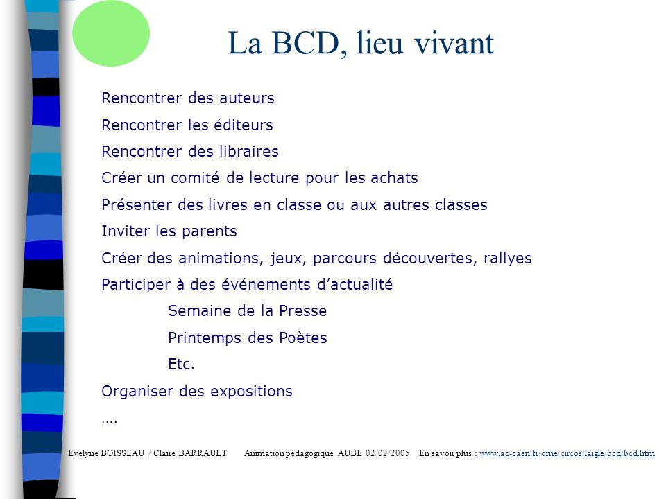 La BCD, lieu vivant Evelyne BOISSEAU / Claire BARRAULT Animation pédagogique AUBE 02/02/2005 En savoir plus : www.ac-caen.fr/orne/circos/laigle/bcd/bc