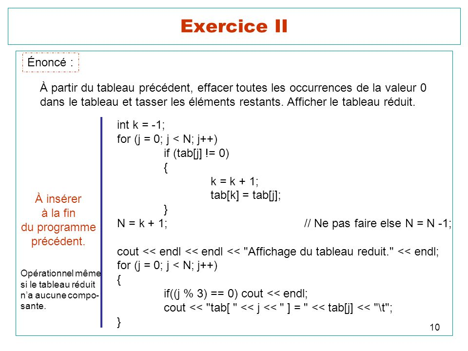 10 Exercice II Énoncé : À partir du tableau précédent, effacer toutes les occurrences de la valeur 0 dans le tableau et tasser les éléments restants.