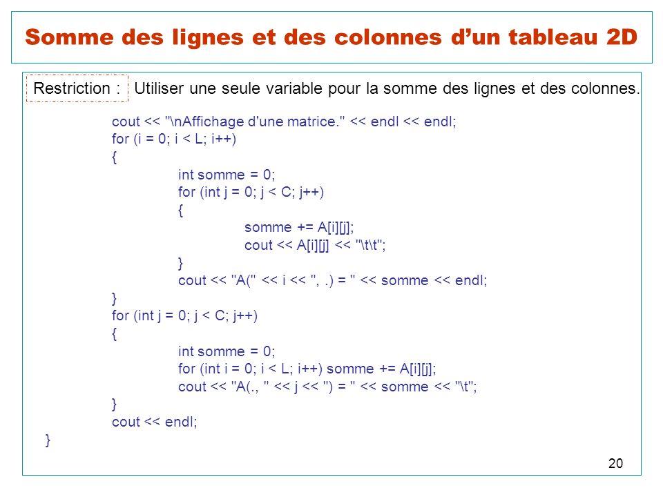 20 Somme des lignes et des colonnes dun tableau 2D Restriction : Utiliser une seule variable pour la somme des lignes et des colonnes. cout <<
