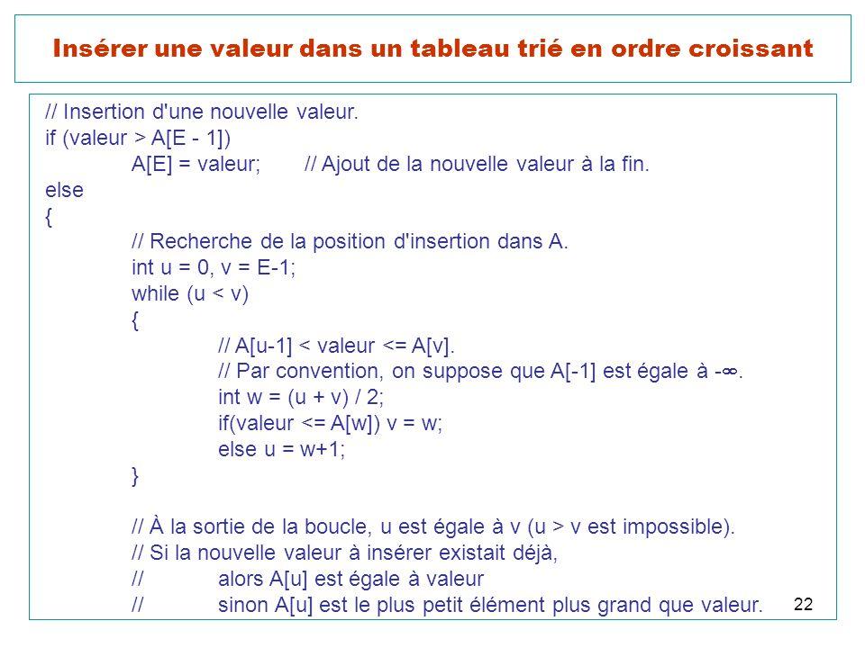 22 Insérer une valeur dans un tableau trié en ordre croissant // Insertion d'une nouvelle valeur. if (valeur > A[E - 1]) A[E] = valeur;// Ajout de la