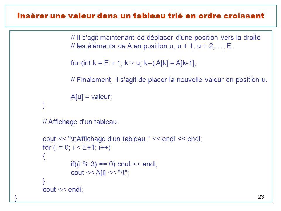 23 Insérer une valeur dans un tableau trié en ordre croissant // Il s'agit maintenant de déplacer d'une position vers la droite // les éléments de A e