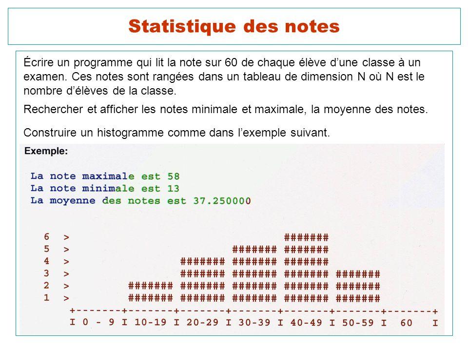 24 Statistique des notes Écrire un programme qui lit la note sur 60 de chaque élève dune classe à un examen. Ces notes sont rangées dans un tableau de
