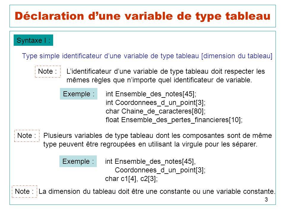 14 Initialisation des tableaux 2D Syntaxe II : Type simple identificateur dune variable de type tableau [Nombre_de_lignes] [Nombre_de_colonnes] = { { valeur 11 de type simple, valeur 12 de type simple, …, valeur 1C de type simple}, { valeur 21 de type simple, valeur 22 de type simple, …, valeur 2C de type simple},...