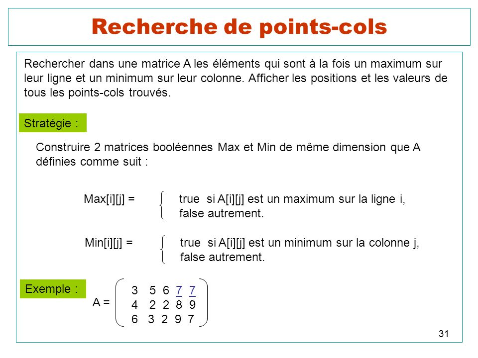 31 Recherche de points-cols Rechercher dans une matrice A les éléments qui sont à la fois un maximum sur leur ligne et un minimum sur leur colonne. Af