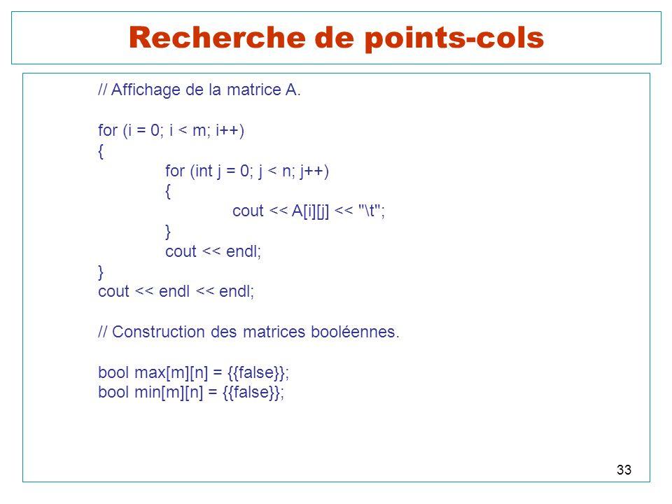 33 Recherche de points-cols // Affichage de la matrice A. for (i = 0; i < m; i++) { for (int j = 0; j < n; j++) { cout << A[i][j] <<