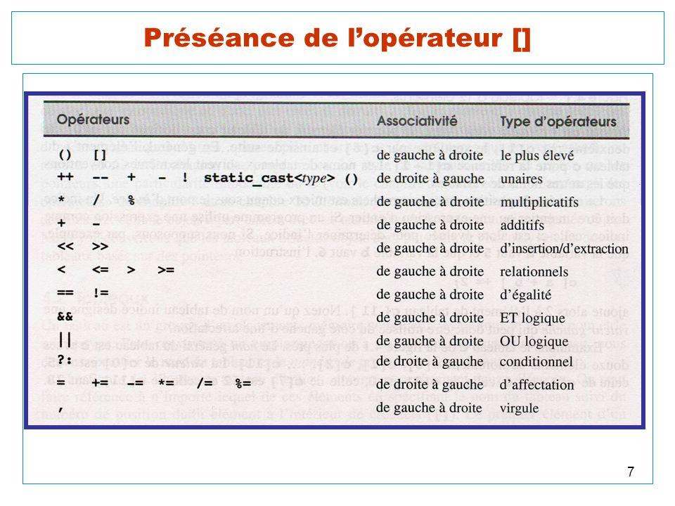 18 Construction et affichage dun tableau 2D cout << endl << endl << Saisie au clavier des donnees d une matrice. << endl << endl; for (i = 0; i < L; i++) for (int j = 0; j < C; j++) { cout << \nA( << i << , << j << ) = ; cin >> A[i][j];// scanf( %d , &A[i][j]); } cout << \nAffichage d une matrice. << endl << endl; for (i = 0; i < L; i++) { for (int j = 0; j < C; j++) cout << A( << i << , << j << ) = << A[i][j] << \t ; cout << endl; }