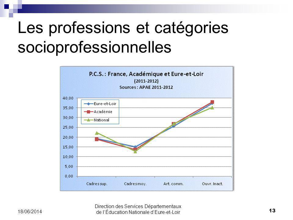 Les professions et catégories socioprofessionnelles 18/06/2014 13 Direction des Services Départementaux de lÉducation Nationale dEure-et-Loir