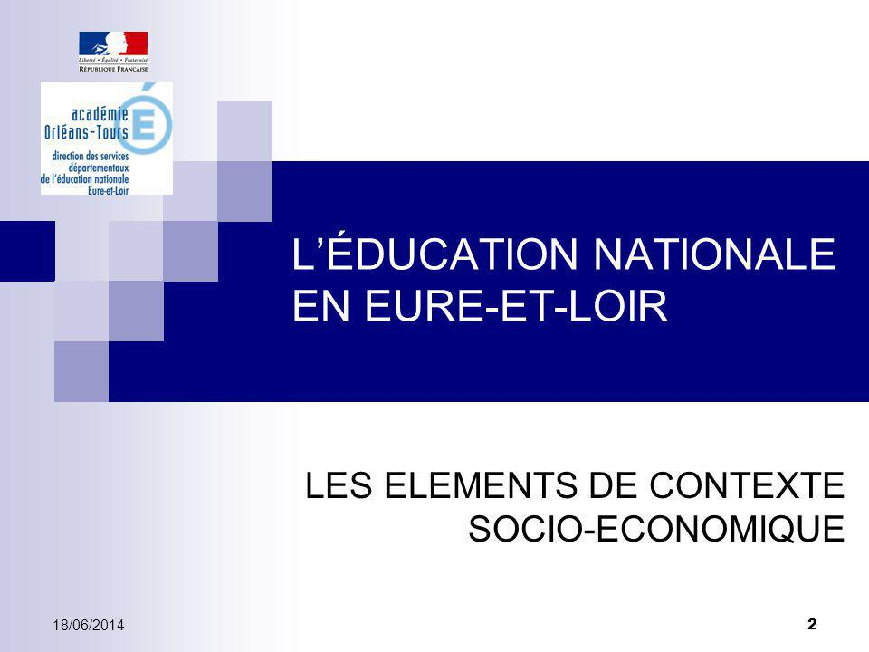 LÉDUCATION NATIONALE EN EURE-ET-LOIR LES ELEMENTS DE CONTEXTE SOCIO-ECONOMIQUE 18/06/2014 2