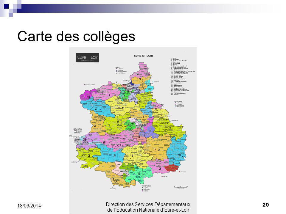 Carte des collèges 20 18/06/2014 Direction des Services Départementaux de lÉducation Nationale dEure-et-Loir
