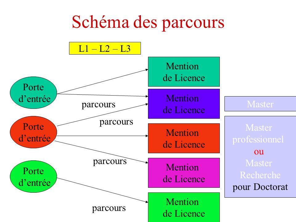 Schéma des parcours Porte dentrée Mention de Licence parcours Porte dentrée Porte dentrée Mention de Licence Mention de Licence Mention de Licence Mention de Licence parcours Master L1 – L2 – L3 Master professionnel ou Master Recherche pour Doctorat