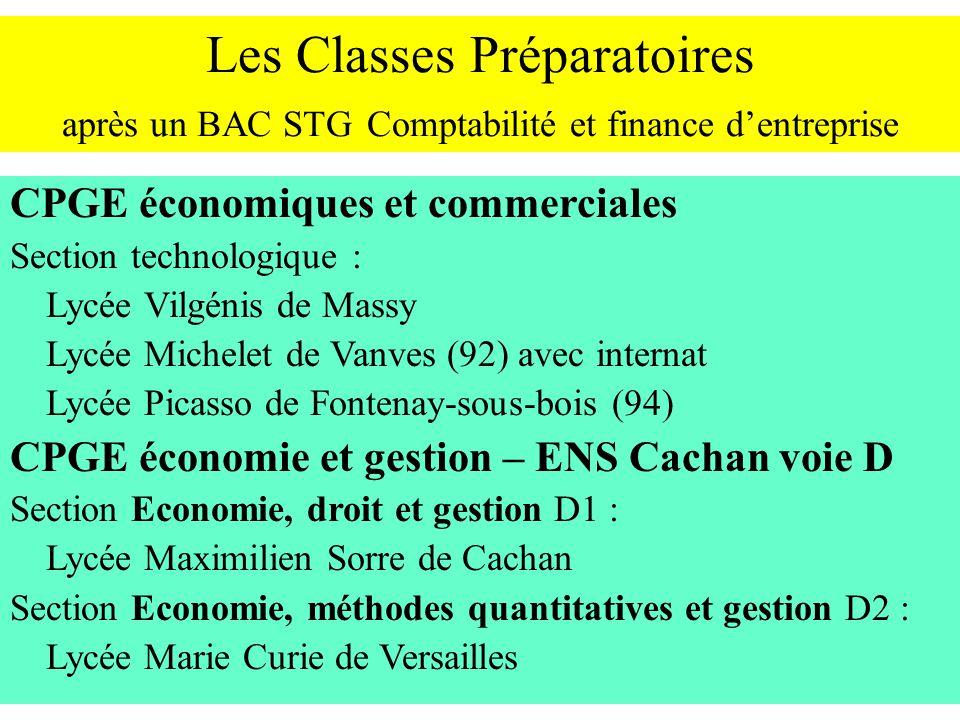 Les Classes Préparatoires après un BAC STG Comptabilité et finance dentreprise CPGE économiques et commerciales Section technologique : Lycée Vilgénis