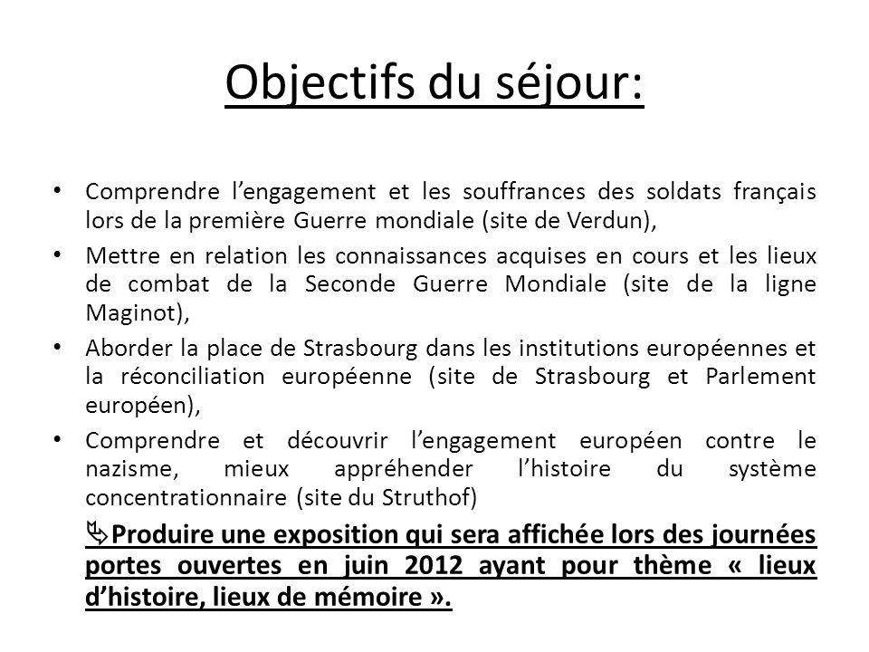 Objectifs du séjour: Comprendre lengagement et les souffrances des soldats français lors de la première Guerre mondiale (site de Verdun), Mettre en re