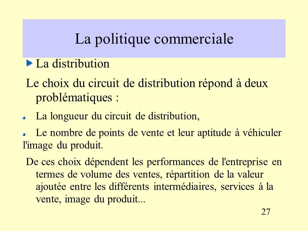 La politique commerciale Le prix : éléments à prendre en compte L élasticité de la demande par rapport au prix, Les prix pratiqués par la concurrence, Le coût de revient (la vente à perte est interdite), D éventuelles contraintes réglementaires.