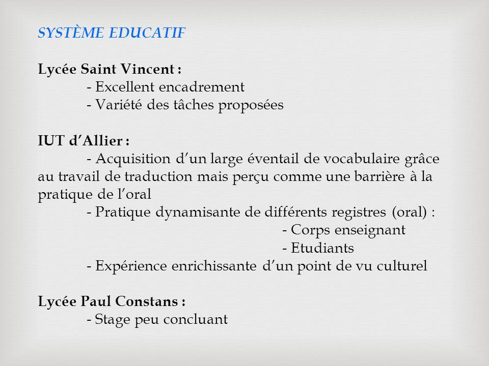 SYSTÈME EDUCATIF Lycée Saint Vincent : - Excellent encadrement - Variété des tâches proposées IUT dAllier : - Acquisition dun large éventail de vocabulaire grâce au travail de traduction mais perçu comme une barrière à la pratique de loral - Pratique dynamisante de différents registres (oral) : - Corps enseignant - Etudiants - Expérience enrichissante dun point de vu culturel Lycée Paul Constans : - Stage peu concluant