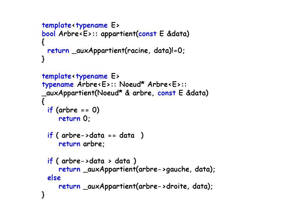 template int Arbre ::hauteur() throw (logic_error) { if (cpt==0) throw logic_error( Hauteur: l arbre est vide!\n ); return _hauteurParcours(racine); } template int Arbre ::_hauteurParcours(Noeud * arb) { if (arb==0) return -1; return 1 + _maximum(_hauteur(arb->gauche), _hauteur(arb->droite)); }