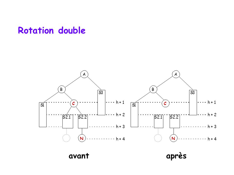 Rotation double S1 A B S2 S3 h + 1 h + 2 h + 3 h + 4 N S1 A B S2.1 S3 h + 1 h + 2 h + 3 h + 4 N S2.2 C