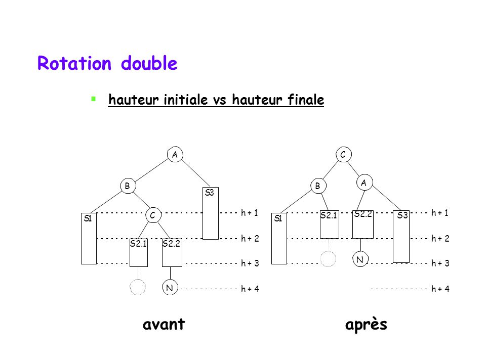 Rotation double S1 B S3 h + 1 h + 2 h + 3 h + 4 N S2.2 C S1 B S3 h + 1 h + 2 h + 3 h + 4 N C A A S2.1 S2.2 avantaprès