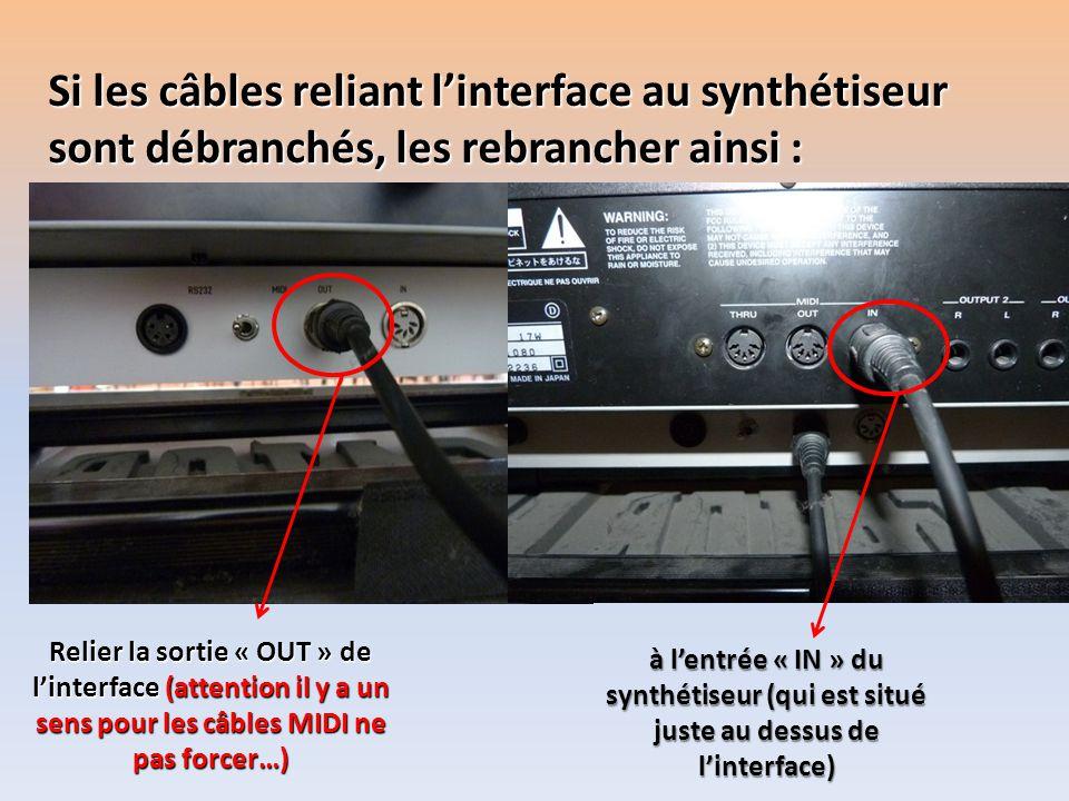 Si les câbles reliant linterface au synthétiseur sont débranchés, les rebrancher ainsi : Relier la sortie « OUT » de linterface (attention il y a un s