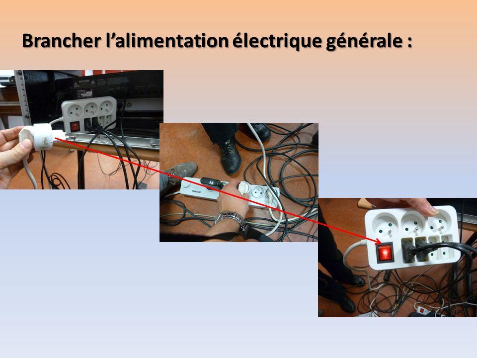 Brancher lalimentation électrique générale :