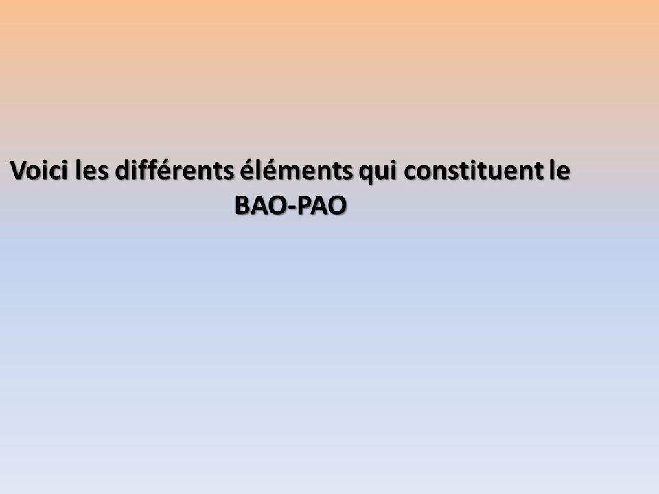 Voici les différents éléments qui constituent le BAO-PAO