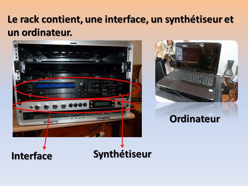 Le rack contient, une interface, un synthétiseur et un ordinateur. Interface Synthétiseur Ordinateur