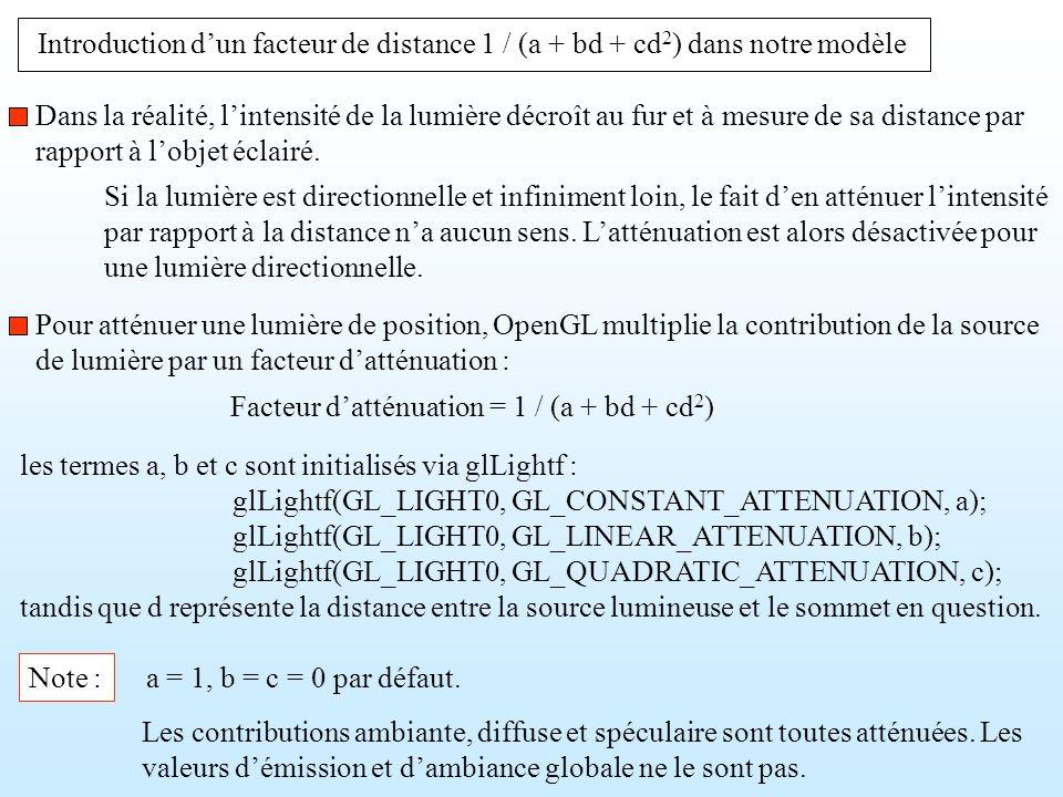 Introduction dun facteur de distance 1 / (a + bd + cd 2 ) dans notre modèle les termes a, b et c sont initialisés via glLightf : glLightf(GL_LIGHT0, G