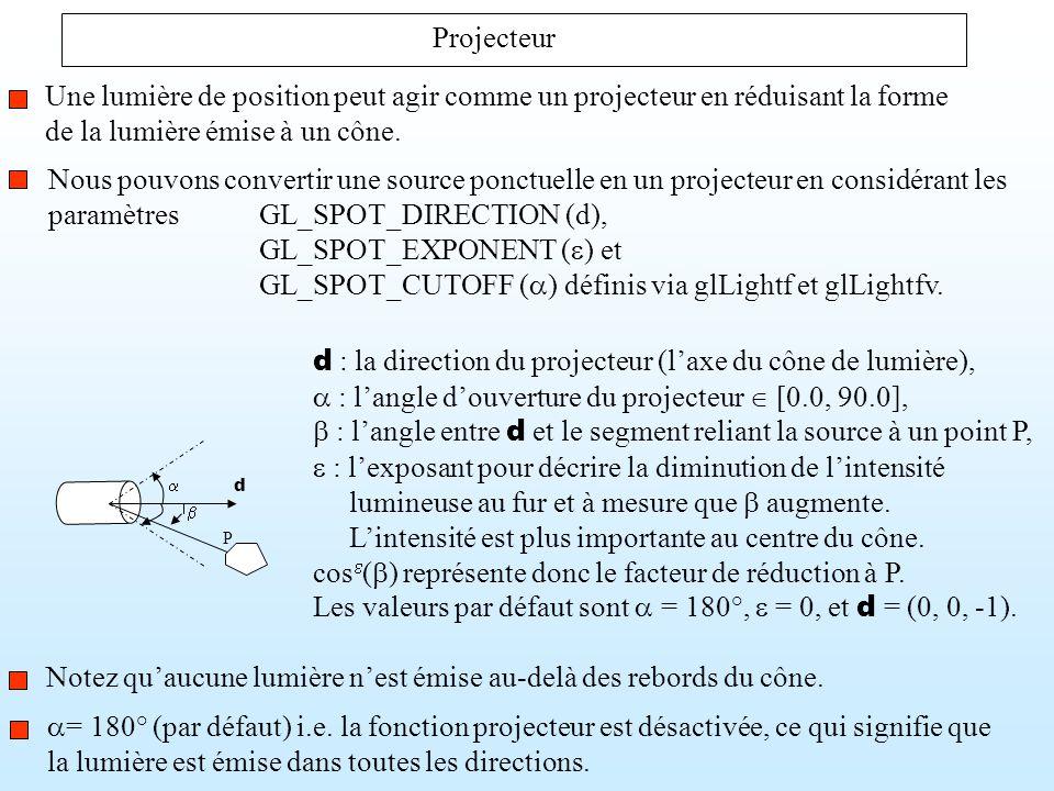 Nous pouvons convertir une source ponctuelle en un projecteur en considérant les paramètresGL_SPOT_DIRECTION (d), GL_SPOT_EXPONENT ( ) et GL_SPOT_CUTO