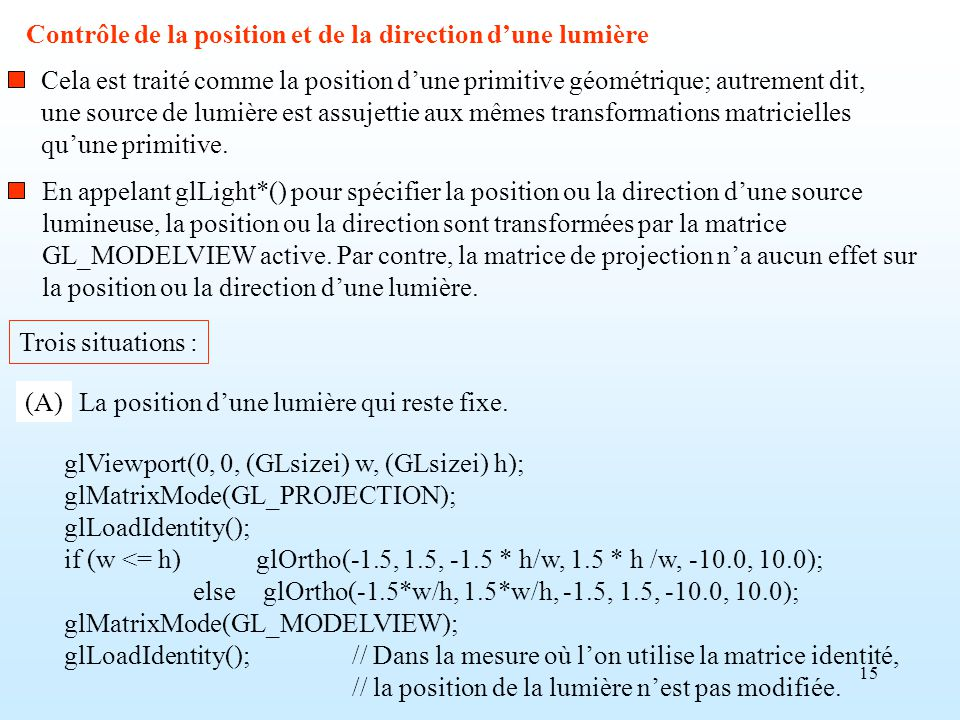 15 Contrôle de la position et de la direction dune lumière Cela est traité comme la position dune primitive géométrique; autrement dit, une source de