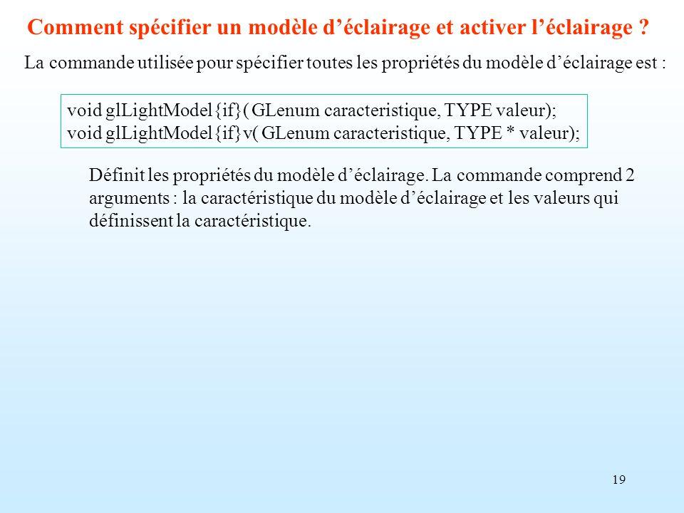 19 Comment spécifier un modèle déclairage et activer léclairage ? La commande utilisée pour spécifier toutes les propriétés du modèle déclairage est :