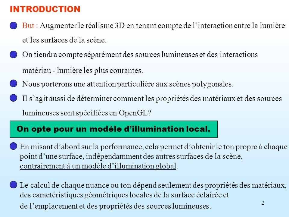 2 But : Augmenter le réalisme 3D en tenant compte de linteraction entre la lumière et les surfaces de la scène. On tiendra compte séparément des sourc