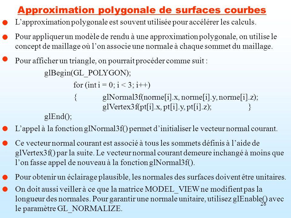 28 Lapproximation polygonale est souvent utilisée pour accélérer les calculs. Pour appliquer un modèle de rendu à une approximation polygonale, on uti