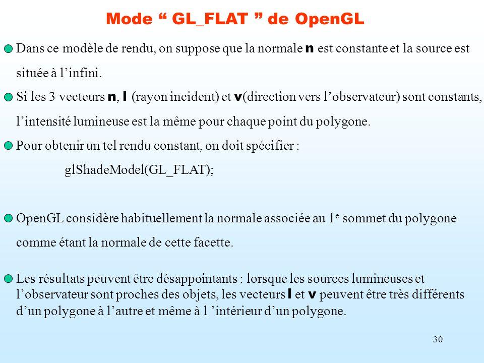 30 Mode GL_FLAT de OpenGL Dans ce modèle de rendu, on suppose que la normale n est constante et la source est située à linfini. Si les 3 vecteurs n, l