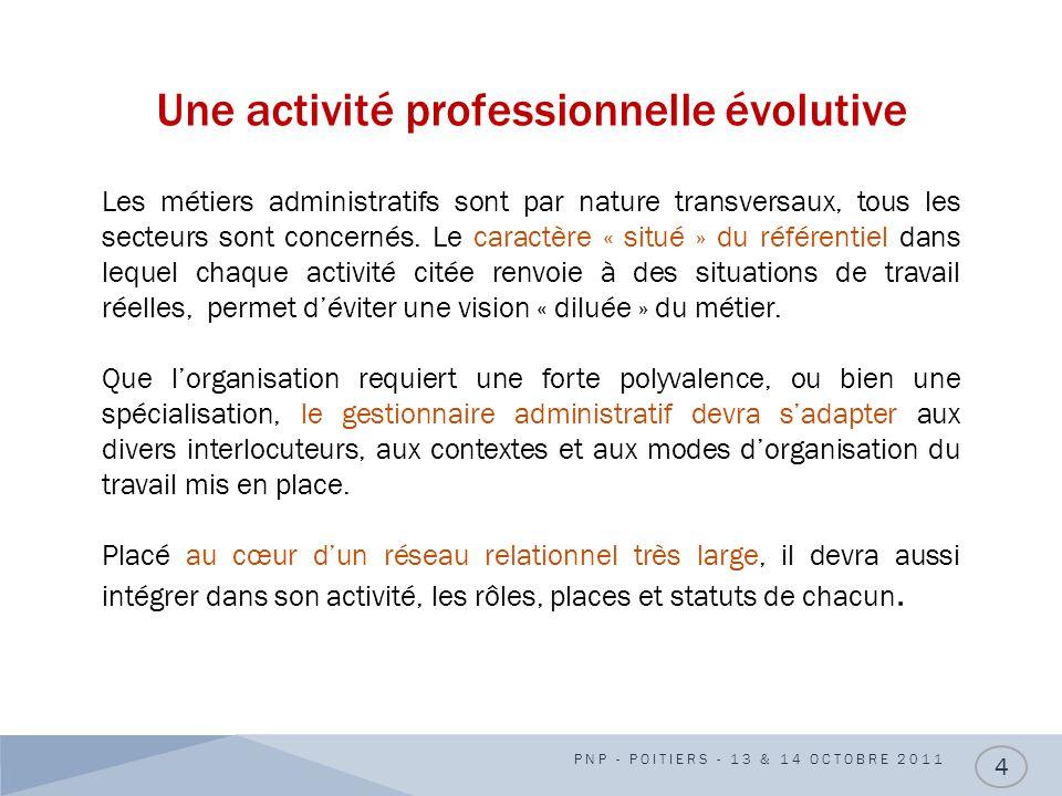 Une activité professionnelle évolutive PNP - POITIERS - 13 & 14 OCTOBRE 2011 4 Les métiers administratifs sont par nature transversaux, tous les secte
