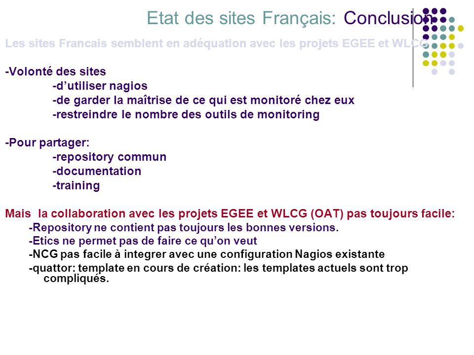 Etat des sites Français: Conclusion Les sites Francais semblent en adéquation avec les projets EGEE et WLCG -Volonté des sites -dutiliser nagios -de g
