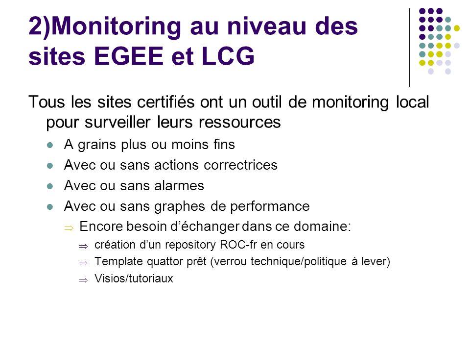 2)Monitoring au niveau des sites EGEE et LCG Tous les sites certifiés ont un outil de monitoring local pour surveiller leurs ressources A grains plus