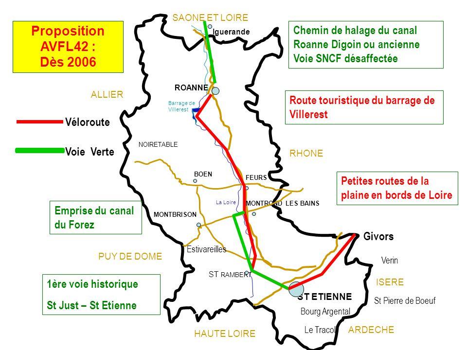 2013 – Voie verte entre Bellegarde en Forez et Montrond les Bains En projet : 2013 – 2016 Réalisation dun tronçon de 20Km reliant la Saône et Loire (71) à la Loire (42)