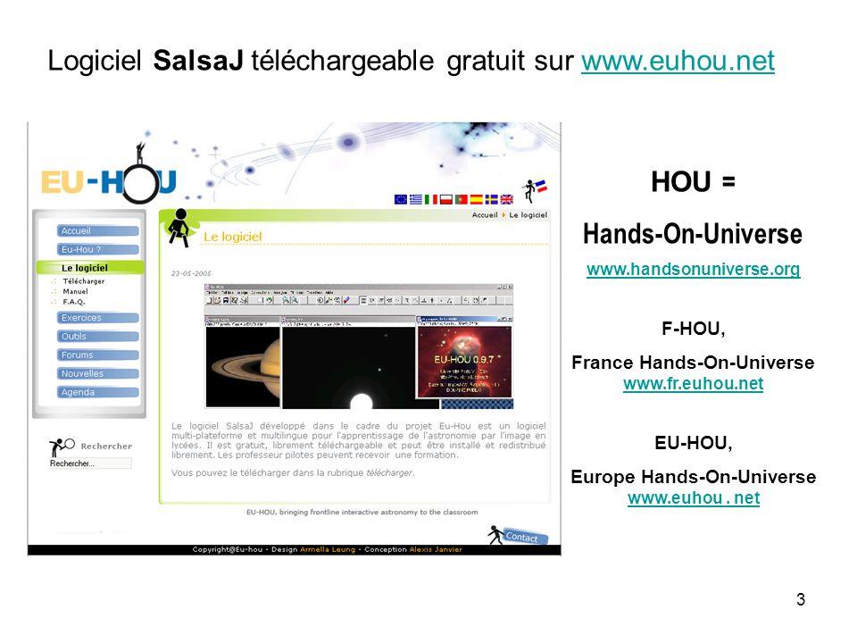 3 Logiciel SalsaJ téléchargeable gratuit sur www.euhou.netwww.euhou.net HOU = Hands-On-Universe www.handsonuniverse.org F-HOU, France Hands-On-Universe www.fr.euhou.net www.fr.euhou.net EU-HOU, Europe Hands-On-Universe www.euhou.