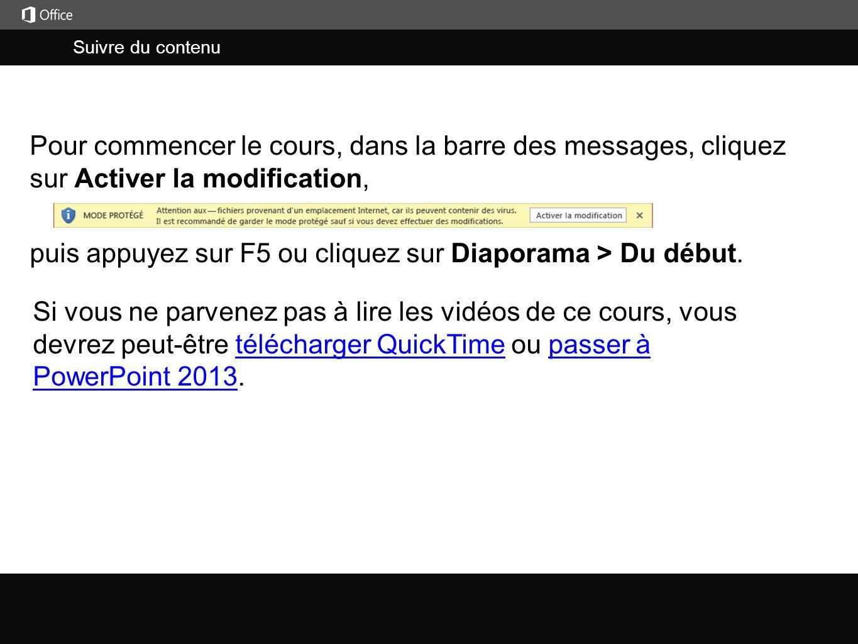 Suivre du contenu j puis appuyez sur F5 ou cliquez sur Diaporama > Du début. Pour commencer le cours, dans la barre des messages, cliquez sur Activer