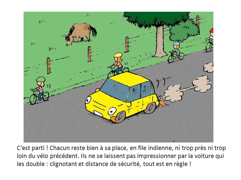 Cest parti ! Chacun reste bien à sa place, en file indienne, ni trop près ni trop loin du vélo précédent. Ils ne se laissent pas impressionner par la