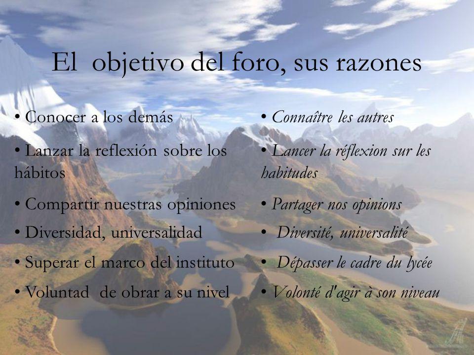 El objetivo del foro, sus razones Conocer a los demás Lanzar la reflexión sobre los hábitos Compartir nuestras opiniones Diversidad, universalidad Sup