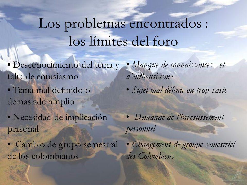 Los problemas encontrados : los límites del foro Desconocimiento del tema y falta de entusiasmo Tema mal definido o demasiado amplio Necesidad de impl