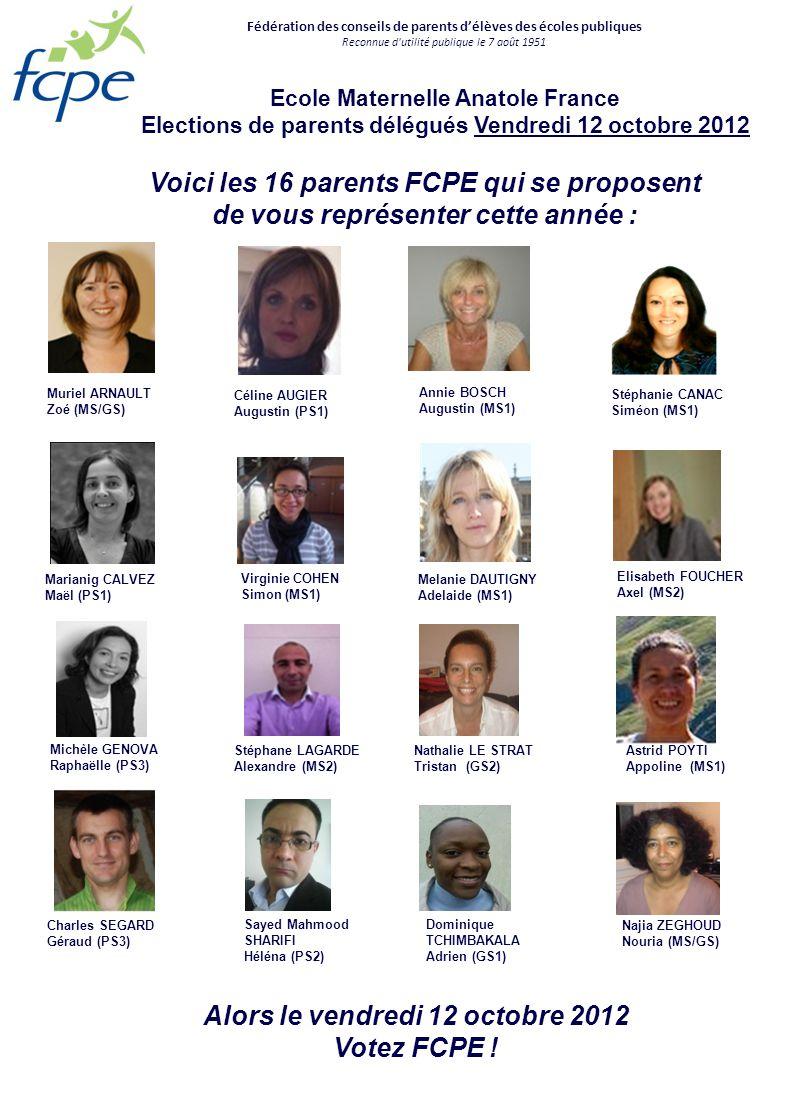 Charles SEGARD Géraud (PS3) Muriel ARNAULT Zoé (MS/GS) Virginie COHEN Simon (MS1) Stéphanie CANAC Siméon (MS1) Najia ZEGHOUD Nouria (MS/GS) Stéphane L