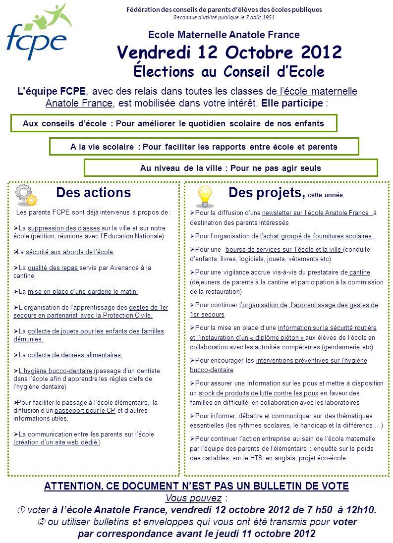 Aux conseils décole : Pour améliorer le quotidien scolaire de nos enfants Fédération des conseils de parents délèves des écoles publiques Reconnue d'u
